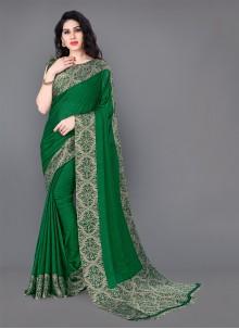 Printed Silk Green Trendy Saree