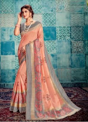 Printed Silk Peach Bollywood Saree