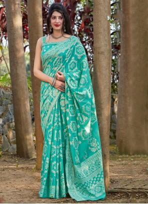 Printed Silk Sea Green Traditional Saree