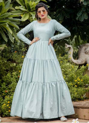 Printed Silk Trendy Gown in Blue