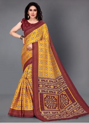 Printed Silk Trendy Saree in Multi Colour
