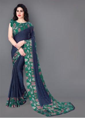 Printed Sea Green Trendy Saree