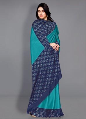 Printed Turquoise Faux Chiffon Traditional Saree