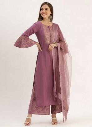 Purple Printed Viscose Palazzo Designer Suit