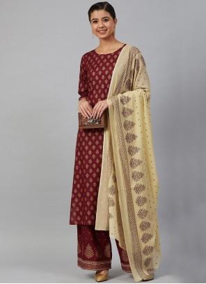 Printed Viscose Trendy Salwar Kameez in Maroon
