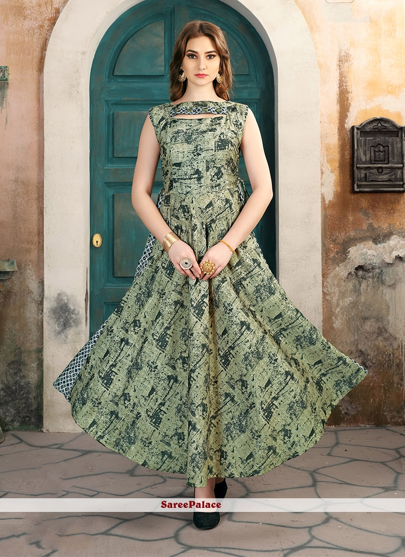 fa818178a50 Buy Printed Work Green Rayon Party Wear Kurti Online