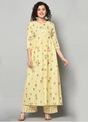 Printed Yellow Casual Kurti