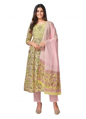Printed Yellow Cotton Readymade Suit