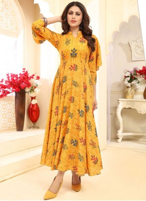 Printed Yellow Designer Gown