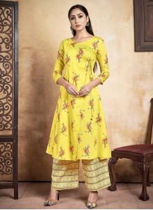 Printed Yellow Designer Kurti