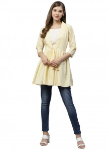 Printed Yellow Muslin Designer Kurti