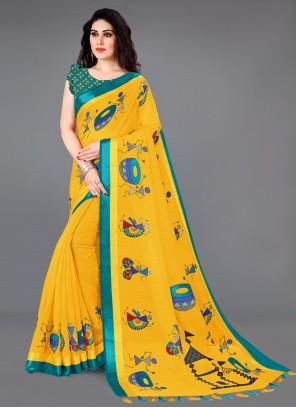 Printed Yellow Saree
