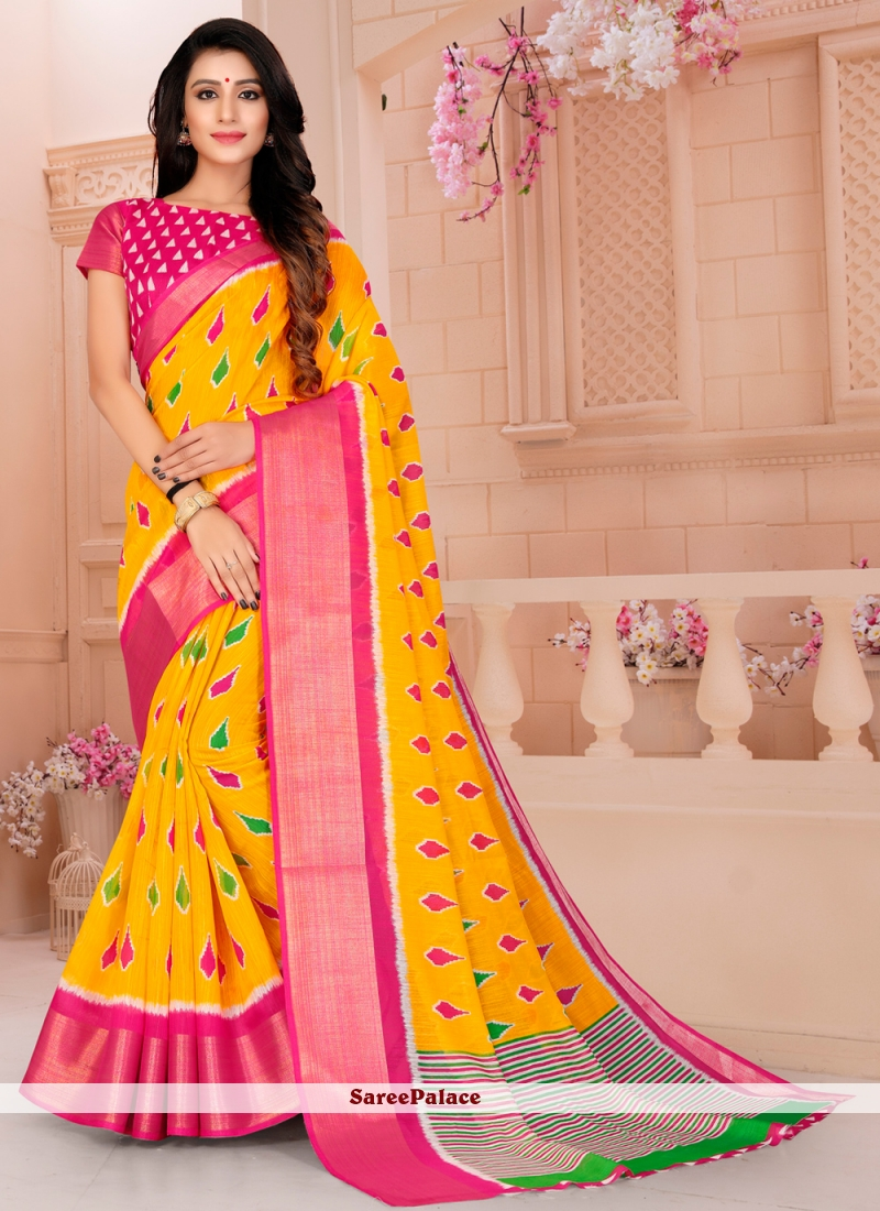 Printed Yellow Printed Saree
