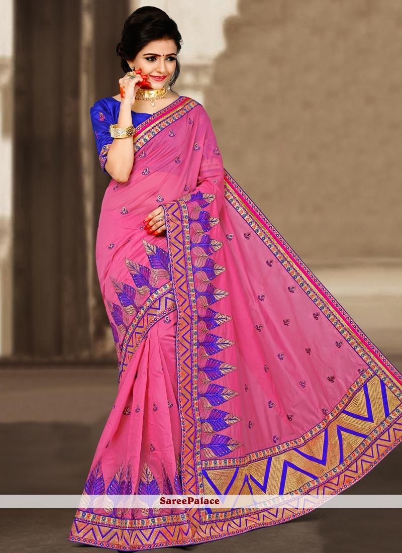Pristine Art Silk Pink Designer Traditional Saree