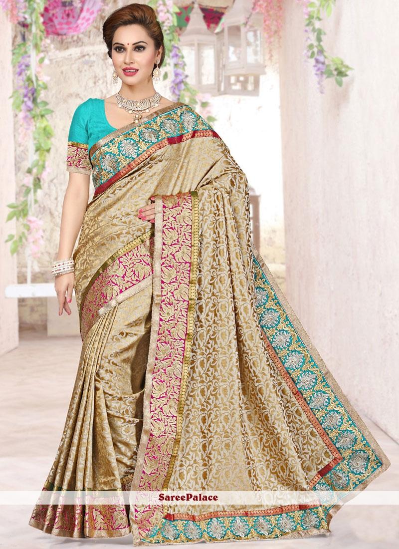 Pristine Beige Embroidered Work Art Silk Traditional  Saree