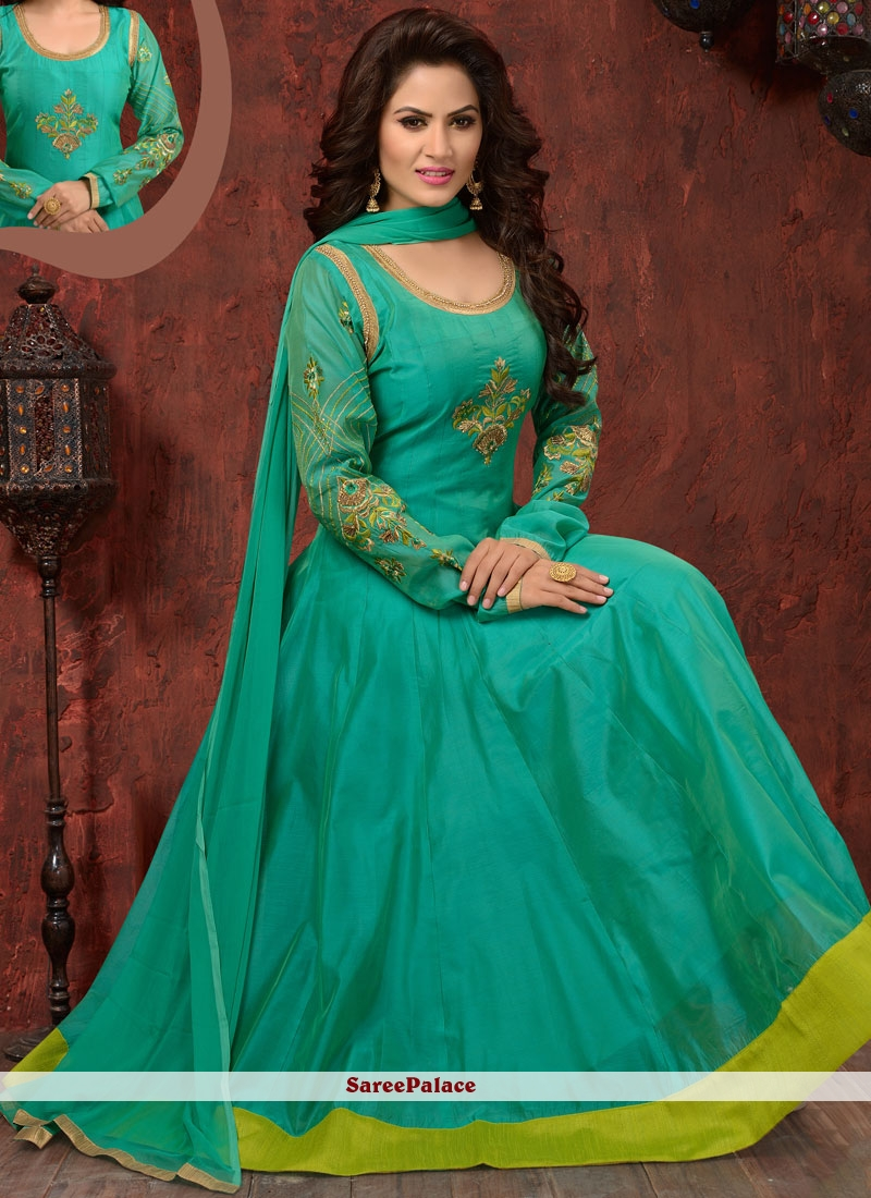 Pristine Chanderi Sea Green Readymade Anarkali Suit