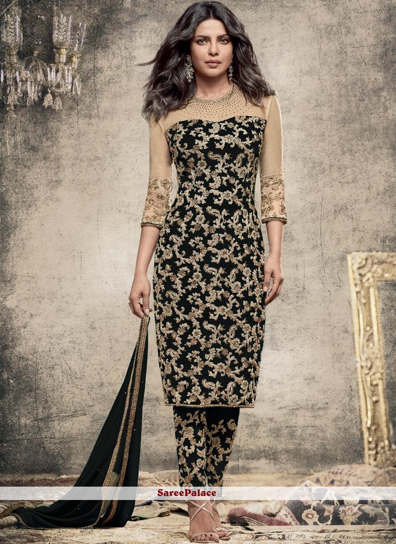 Priyanka Chopra Faux Georgette Black Pant Style Suit