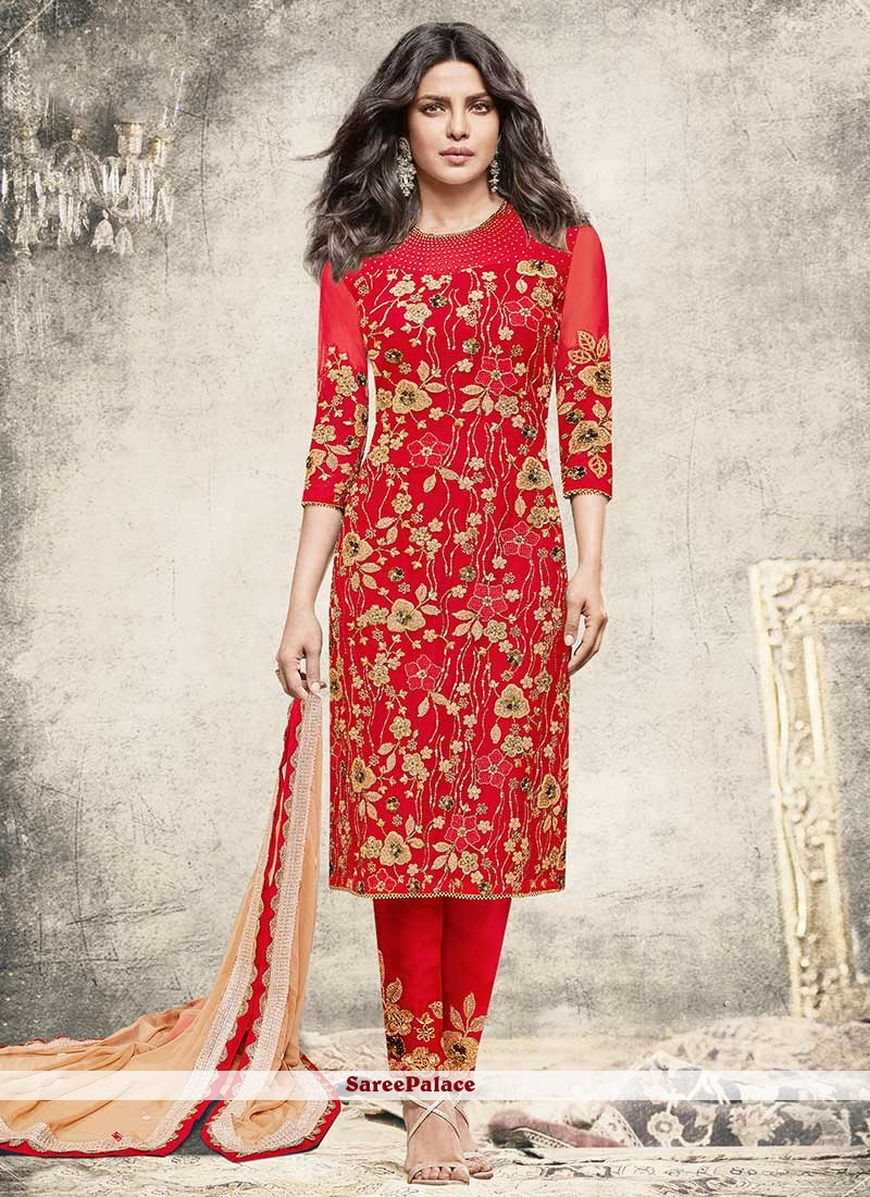 7bea2a80bf Buy Priyanka Chopra Net Zari Work Red Designer Suit Online