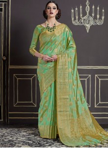 Prodigious Art Silk Green Designer Traditional Saree