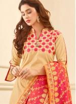 Prodigious Beige Print Work Cotton   Churidar Suit