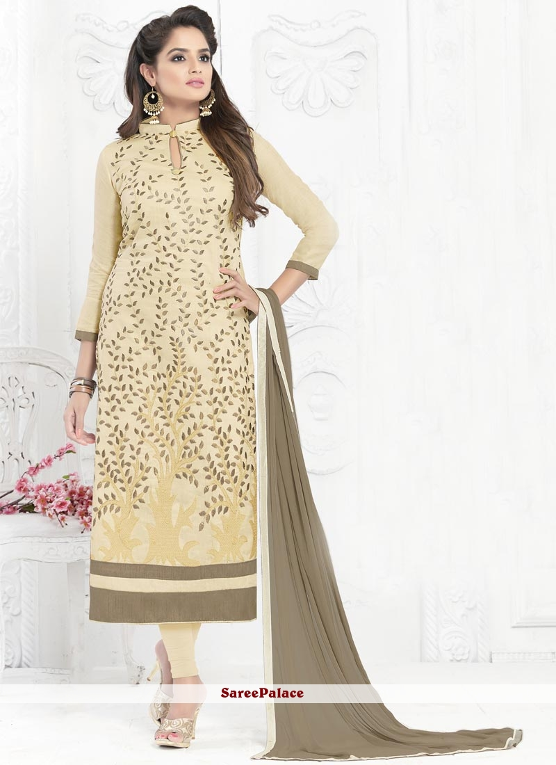 Prodigious Cotton   Embroidered Work Churidar Suit