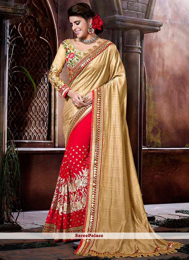 Prodigious Lace Work Art Silk Half N Half  Saree
