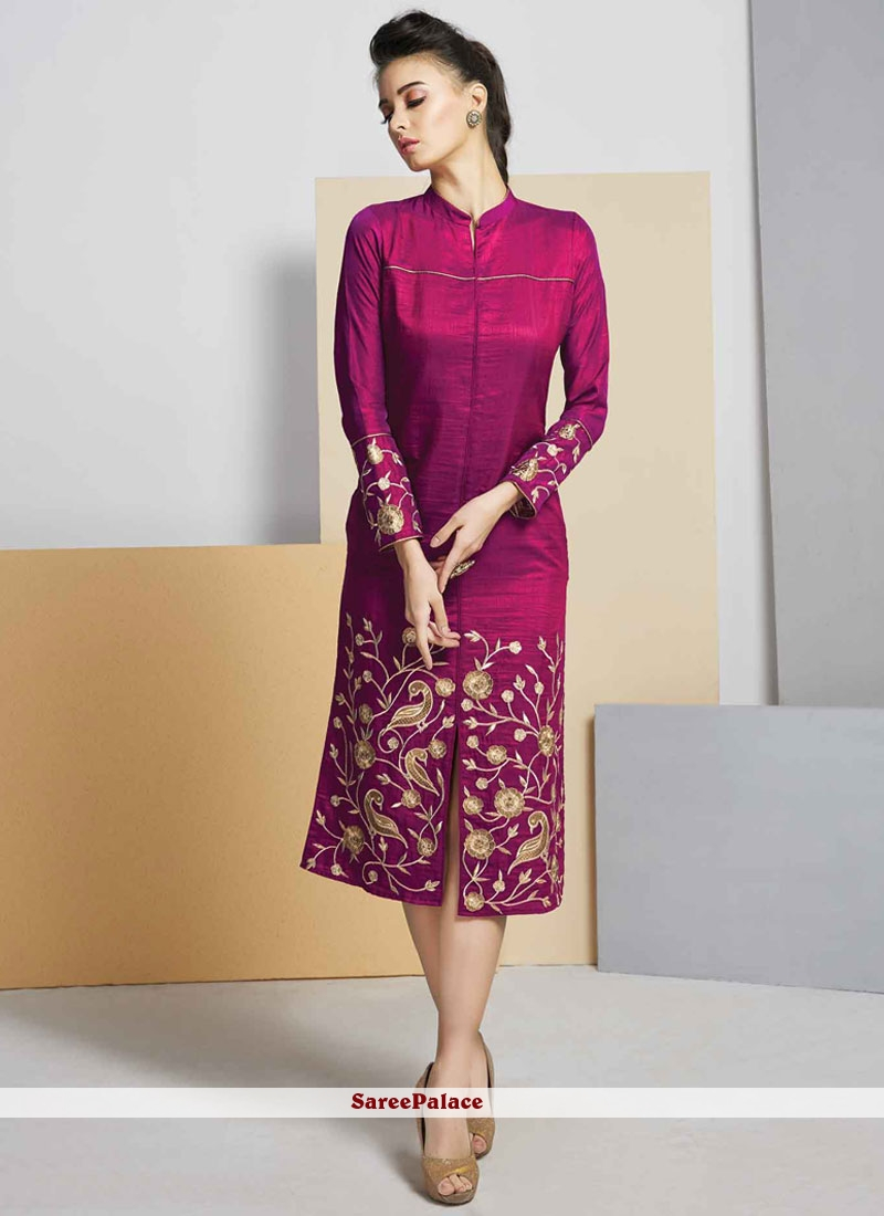Prodigious Magenta Embroidered Work Art Silk Designer Kurti