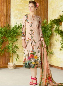 Prodigious Print Work Cotton   Churidar Designer Suit