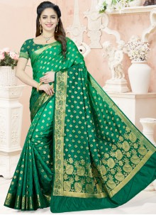 Prodigious Raw Silk Weaving Work Designer Traditional Saree