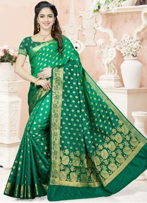 Prodigious Raw Silk Weaving Work Designer Traditional Saree