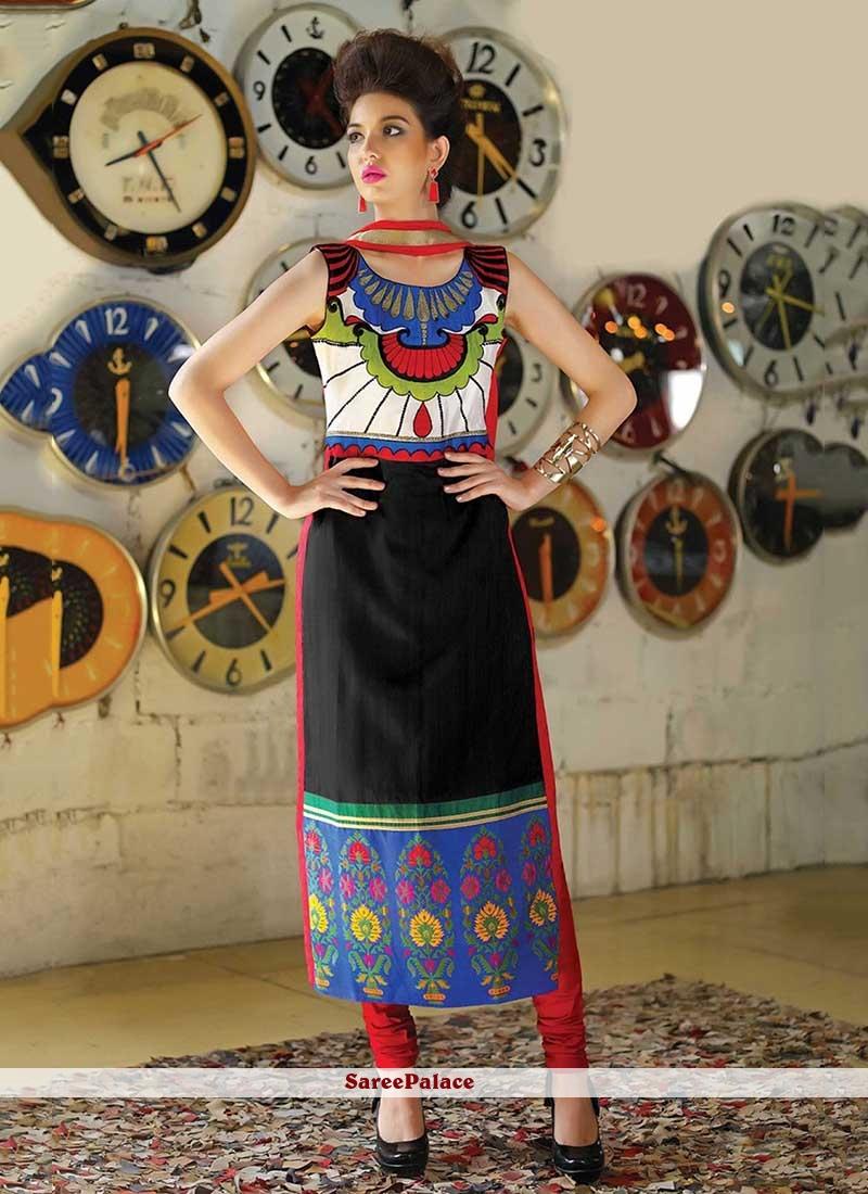 Prodigious Tafeta silk Multi Colour Party Wear Kurti