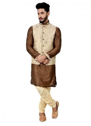 Prominent Art Silk Kurta Payjama With Jacket
