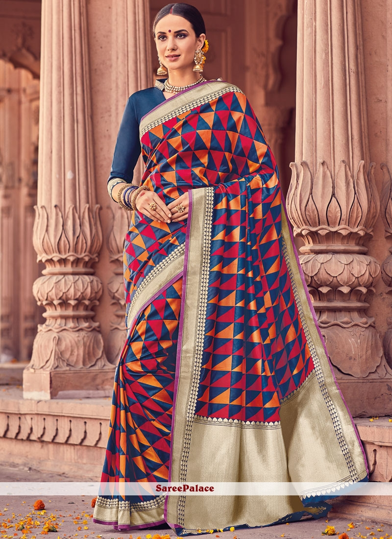 Prominent Art Silk Navy Blue Traditional  Saree