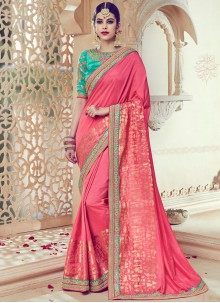Prominent Art Silk Rose Pink Traditional  Saree