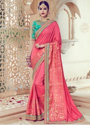 Prominent Art Silk Rose Pink Traditional  Saree