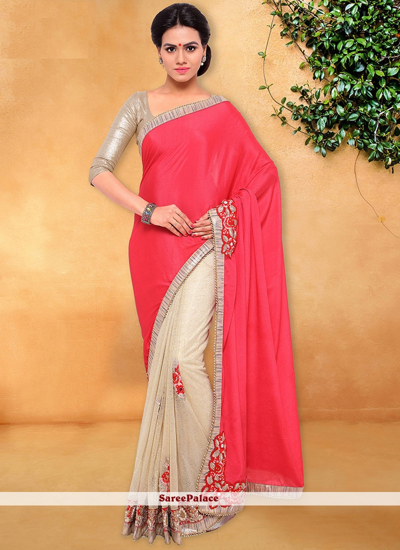 Prominent Faux Chiffon Cream and Pink Designer Half N Half Saree