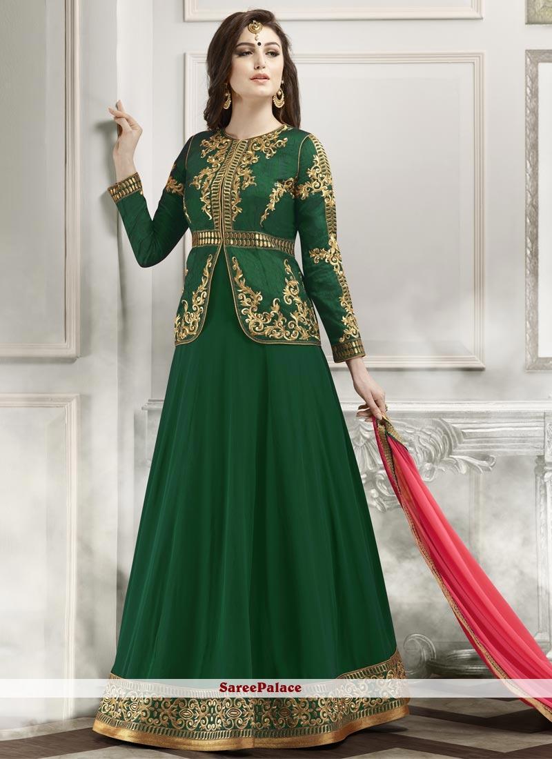 Prominent Lace Work Banglori Silk Designer Floor Length Suit