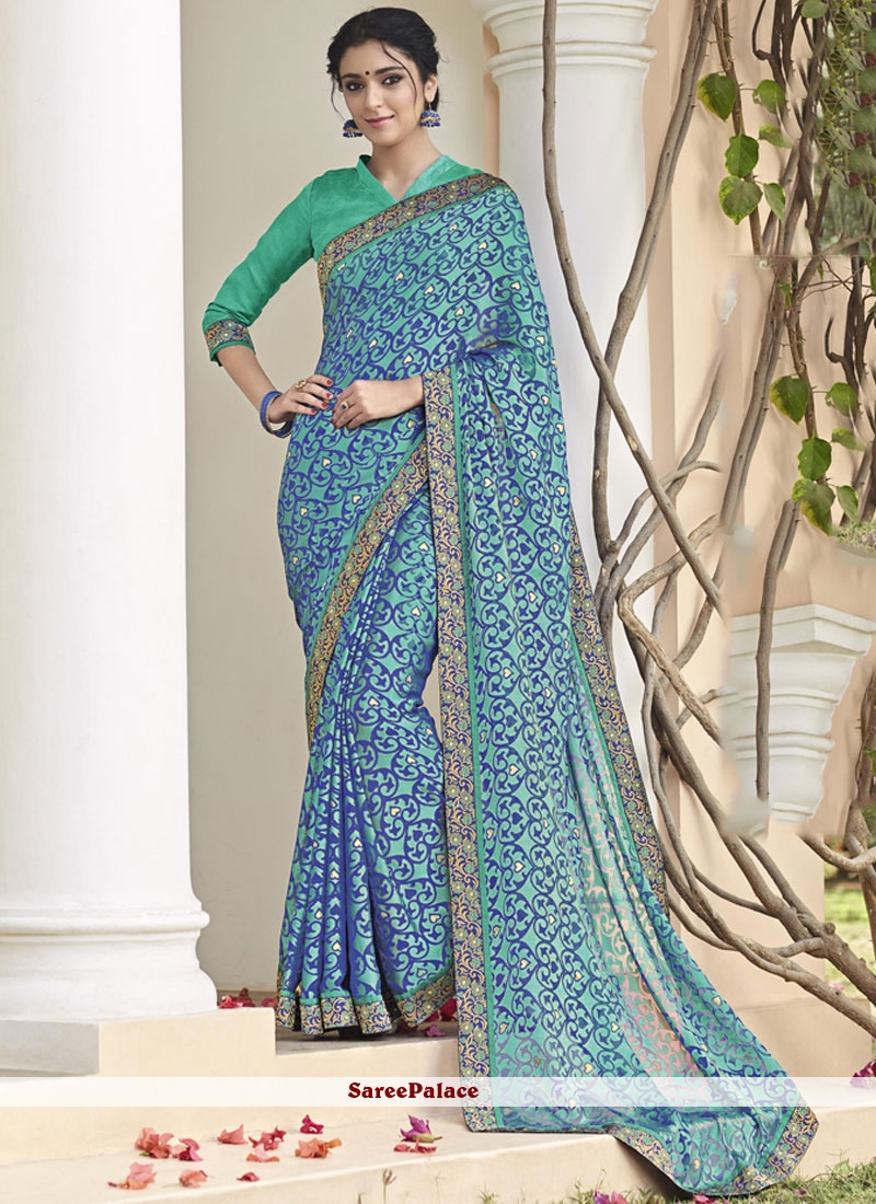 Prominent Lace Work Printed Saree