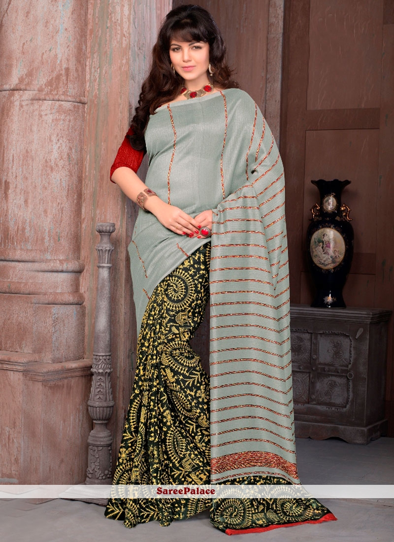 Prominent Multi Colour Print Work Printed Saree