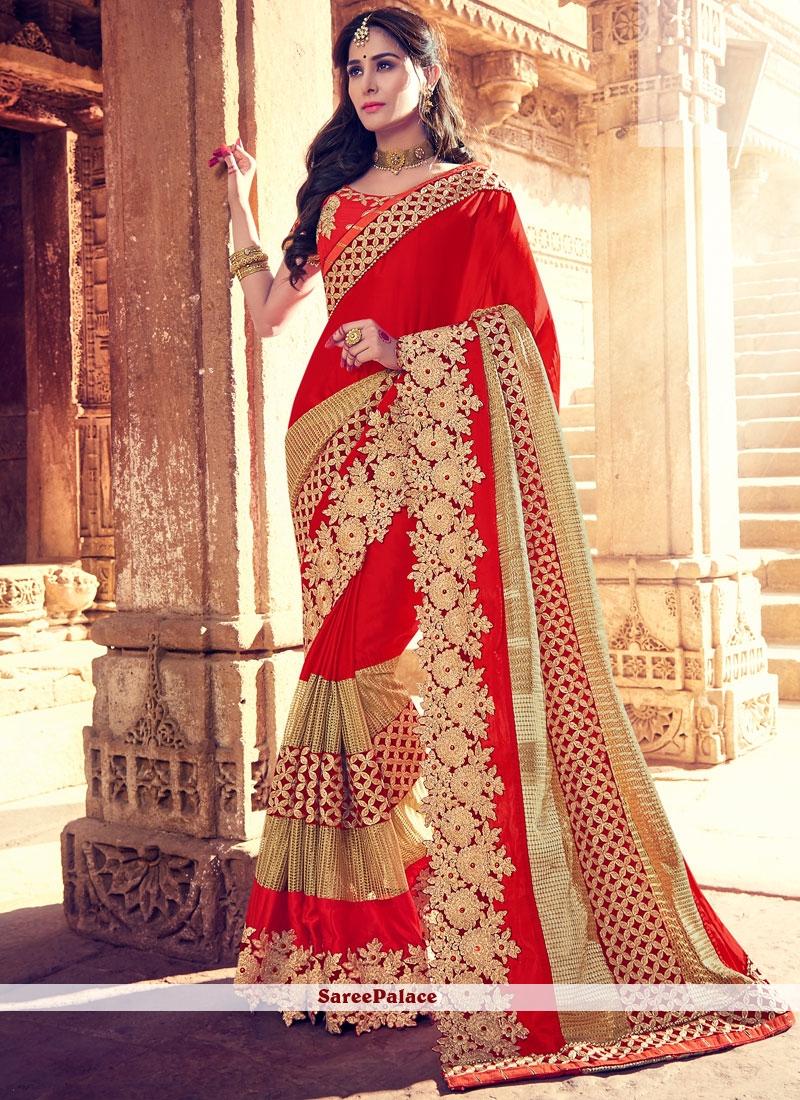 be37680d86 Buy Prominent Red Resham Work Fancy Fabric Designer Saree Online