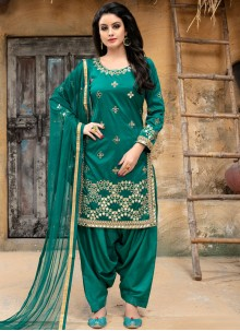 Punjabi Suit Embroidered Tafeta Silk in Sea Green