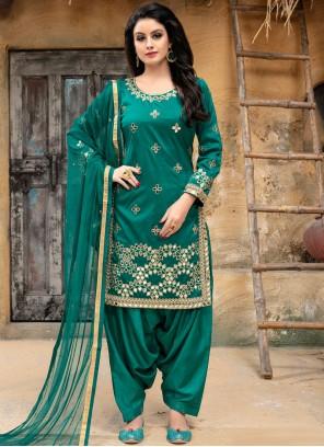 Punjabi Suit Embroidered Tafeta Silk in Sea Green