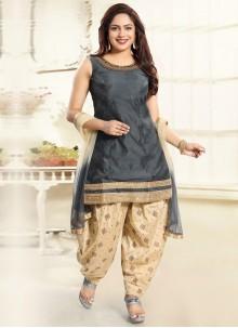 Punjabi Suit Handwork Silk in Grey