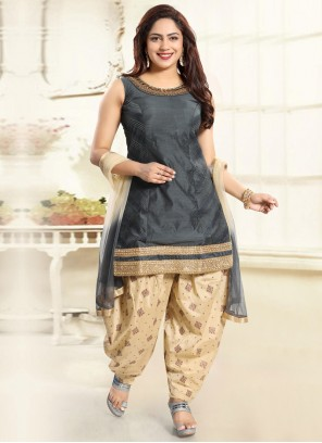 Punjabi Suit Handwork Silk in Grey