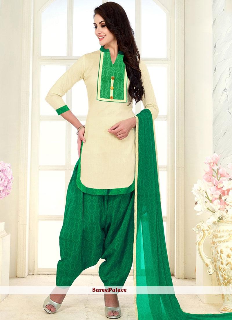 Buy Punjabi Suit Print Cotton In White Online New Punjabi Suit 2019