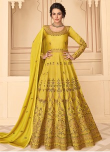 Pure Silk Yellow Resham Designer Floor Length Salwar Suit