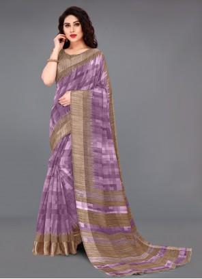 Purple Abstract Print Cotton Printed Saree