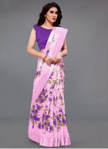 Purple and Violet Cotton Printed Saree