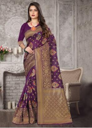 Purple Art Banarasi Silk Weaving Traditional Designer Saree