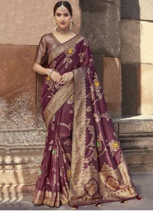 Purple Art Banarasi Silk Wedding Designer Saree